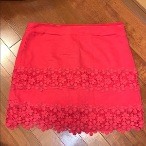 J Crew Pink Red Lace Panel Mini Skirt. Size 0